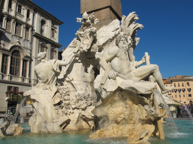 fountain of the four rivers The fountain of the four rivers in rome is the main attraction in the piazza navona the fontana dei quattro fiumi is a popular tourist attraction in rome.